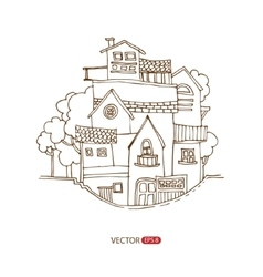 Hand drawing houses vector
