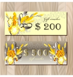 Big sale printable card template with iris flowers vector