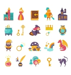 Collection of fairy tale elements icons vector