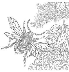 Zentangle stylized cartoon beetle insect vector
