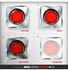 Set of four positions of metal record button vector
