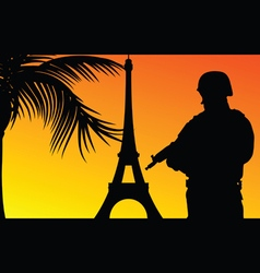 Soldier with eiffel tower silhouette vector