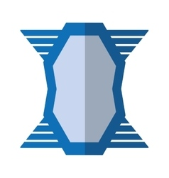Blue shield emblem winged shape geometric badge vector