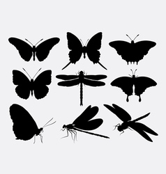 Butterfly and dragonfly insect silhouettes vector
