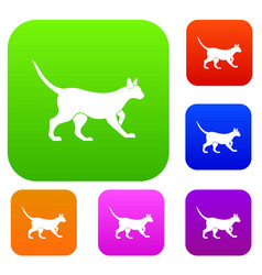 cat set color collection vector image vector image