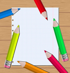 Colorful pencils on paper sheet background vector image vector image