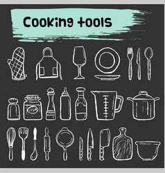 cooking tools doodle sketch icon set vector image