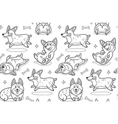 Corgi seamless pattern in outline funny vector