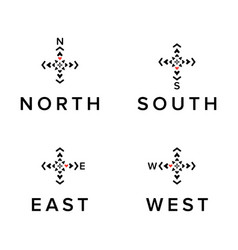 creative direction logos set north south east vector image vector image