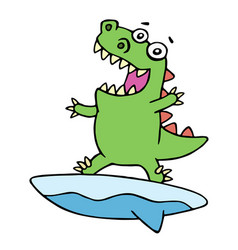 Cute dragon surfer on surfboard caught a wave vector