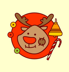 cute reindeer icon merry christmas and happy new vector image vector image