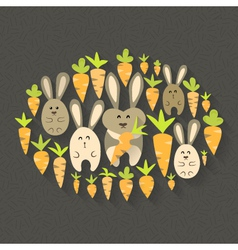 Eastern rabbits and carrots set icons vector