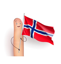 Finger with norway waving flag vector