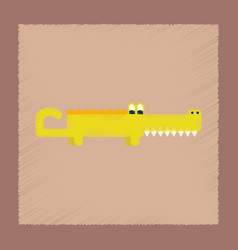 flat shading style icon cartoon crocodile vector image