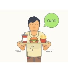 Happy guy holds a tray with big hamburger french vector image vector image