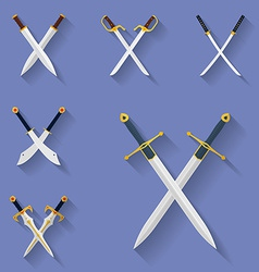Icon set of ancient swords Flat style vector image
