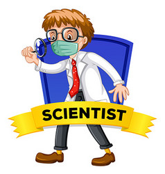 Label design with male scientist vector image