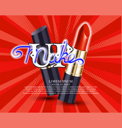 Makeup red lipstick advertising vector