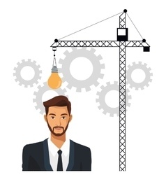 Man business idea gear crane enginer vector
