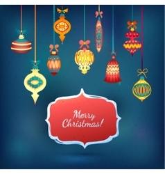 Merry Christmas Glass Balls on Blue Shining vector image