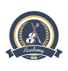 Music academy heraldic insignia with violin vector