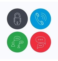 Phone call chat speech bubbles and lock icons vector