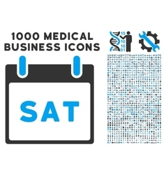 Saturday calendar page icon with 1000 medical vector
