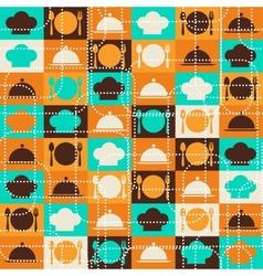 Seamless retro kitchen pattern vector image