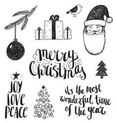 set of hand drawn christmas vector image vector image