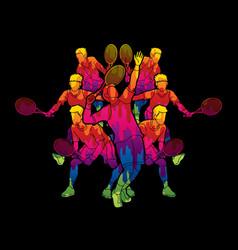 Tennis players men action graphic vector