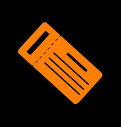 ticket simple sign orange icon on black vector image vector image
