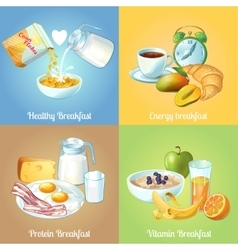 Four breakfast compositions vector