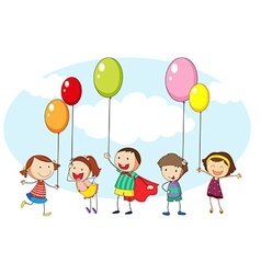Children and many colorful balloons vector