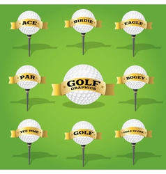 Golf ball and banner design elements vector