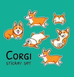 corgi sticker set vector image