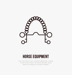 horse pelham bit polo flat line icons vector image