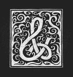Chalk ampersand hand-drawn on grunge vector