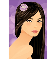 Beautiful asian woman portrait vector