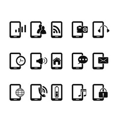 Mobile phone icons set vector