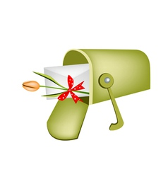 Love letter and orange tulip in mailbox vector