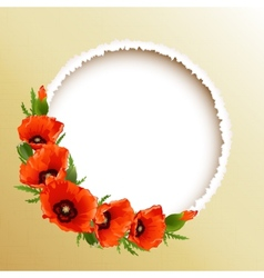Red poppies floral round frame vector