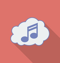 Sound cloud icon modern flat style with a long vector