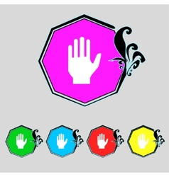 Hand print sign icon stop symbol set colourful vector