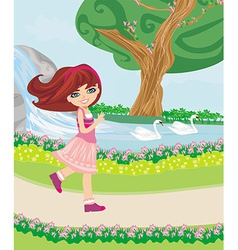 sweet girl in the park vector image