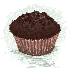 Closeup of a chocolate muffin cup cake snack vector