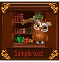 Owl sits on a bookshelf with scrolls and crystals vector