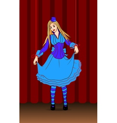 Puppet doll on stage vector