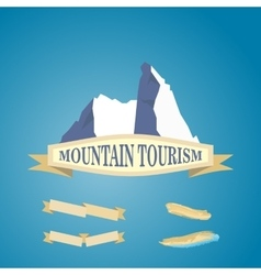 Mountains symbol with ribbon vector