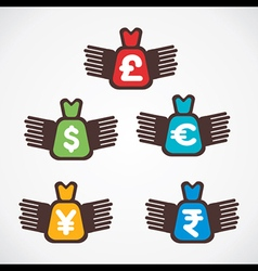 different currency bag fly symbol vector image