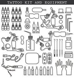 Tattoo kit and icons vector